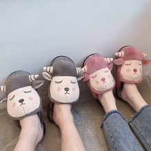 2019 New Winter Indoor Cute Animal Slippers Flat Furry Home Cartoon Women Fur Plush Slippers Unisex Couple Warm Non-slip Shoes mntrerm 2018 cute mouse animal prints home comfortable indoor home practical plush non slip fleeces warm slippers women