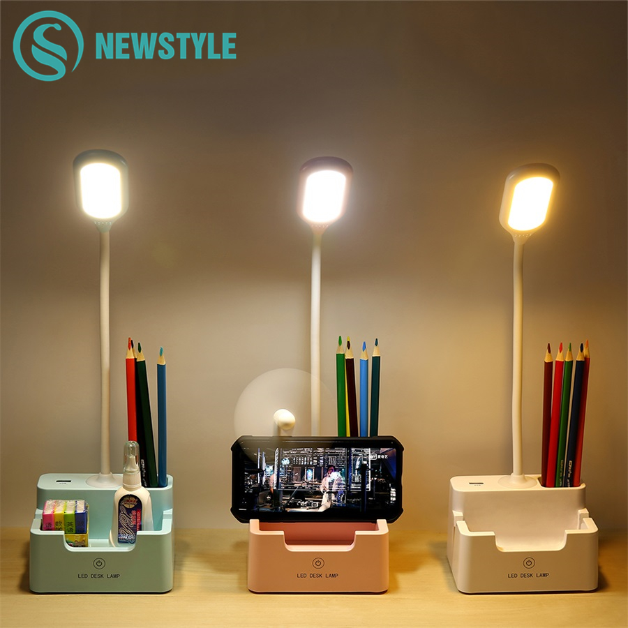 Rechargeable Led Table Lamp With Fan Touch Dimmable Desk Lamp Eye Protection Reading Light For Kid With Phone Hoder Pen Holder
