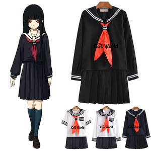 S-5XL Jigoku Shoujo Enma Ai Summer Sailor Suit School Uniform Students Cloth Tops Skirts Anime Cosplay Costumes