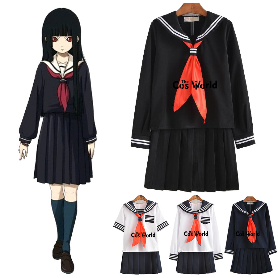S-XXL Jigoku Shoujo Enma Ai Summer Sailor Suit School Uniform Students Cloth Tops Skirts Anime Cosplay Costumes