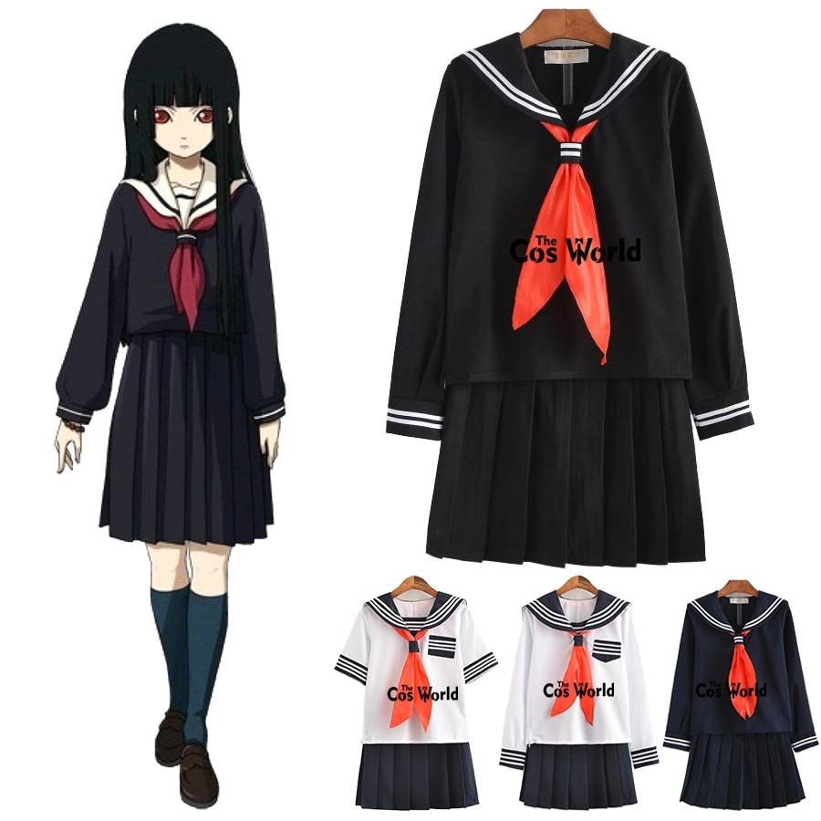 S-XXL Jigoku Shoujo Enma Ai Summer Sailor Suit School Uniform Students Cloth Tops Skirts Anime Cosplay Costumes