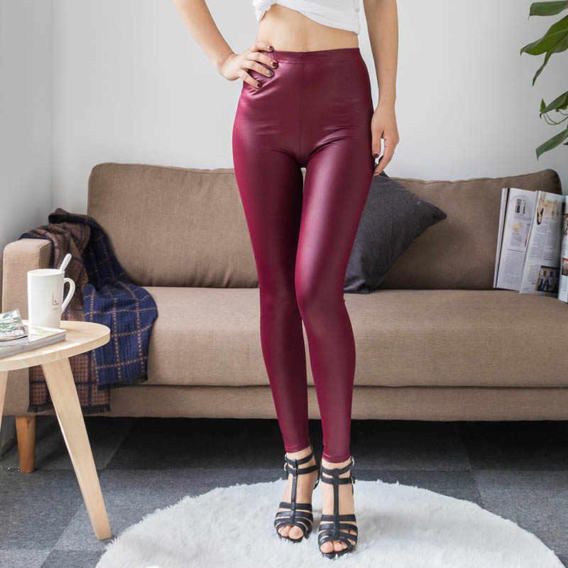 Fashion Faux Burgundy Leggings