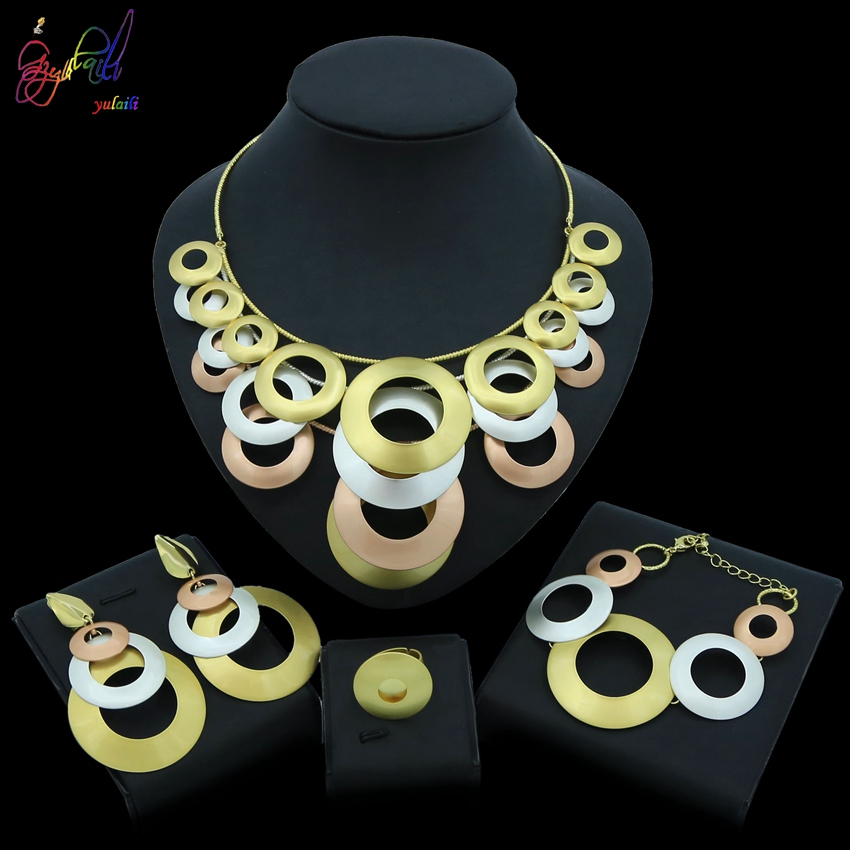 Yulaili Summer New Style Women Jewelry Sets Tricolor Big Round Shape Pendant Earrings Necklace Party Ring for Wear
