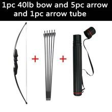 цена на Bow and Arrow Recurve Bow Take Down LongBow 30Lbs/40Lbs with Fiberglass Arrows and Arrow Tube for Archery Hunting Accessory