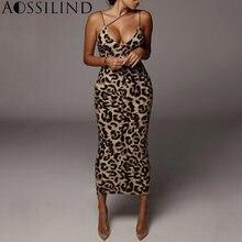 Aossilind леопардовое платье без рукавов с v образным вырезом