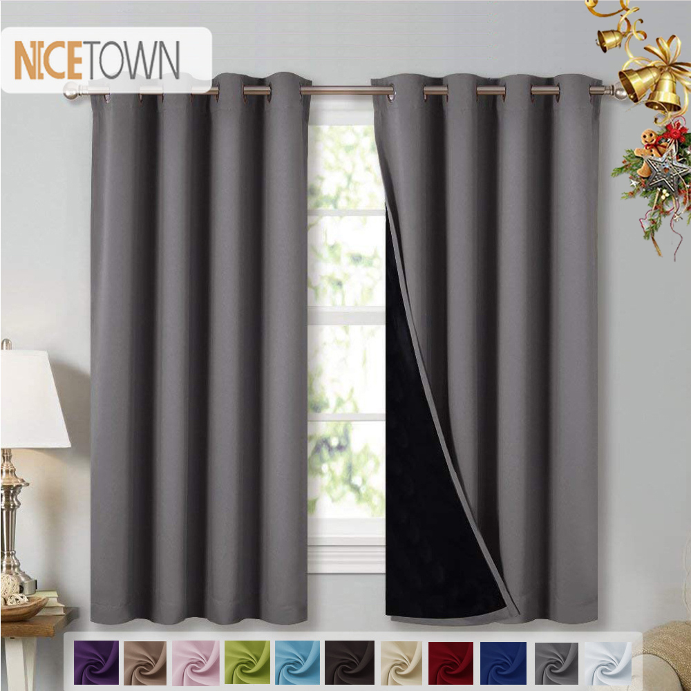 NICETOWN 1PC Double Layer Full Blackout Curtains Super Thick Insulated Complete Blackout Draperies With Black Liner For Living