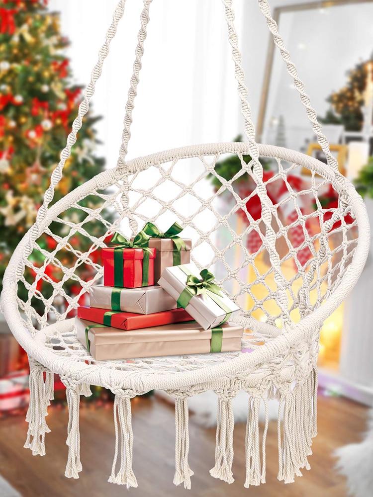 Hammock Swing Chair Round Macrame Hanging Cotton Rope Muebles Hammocks Chair For Indoor Outdoor Home Bedroom Patio Yard Garden 1
