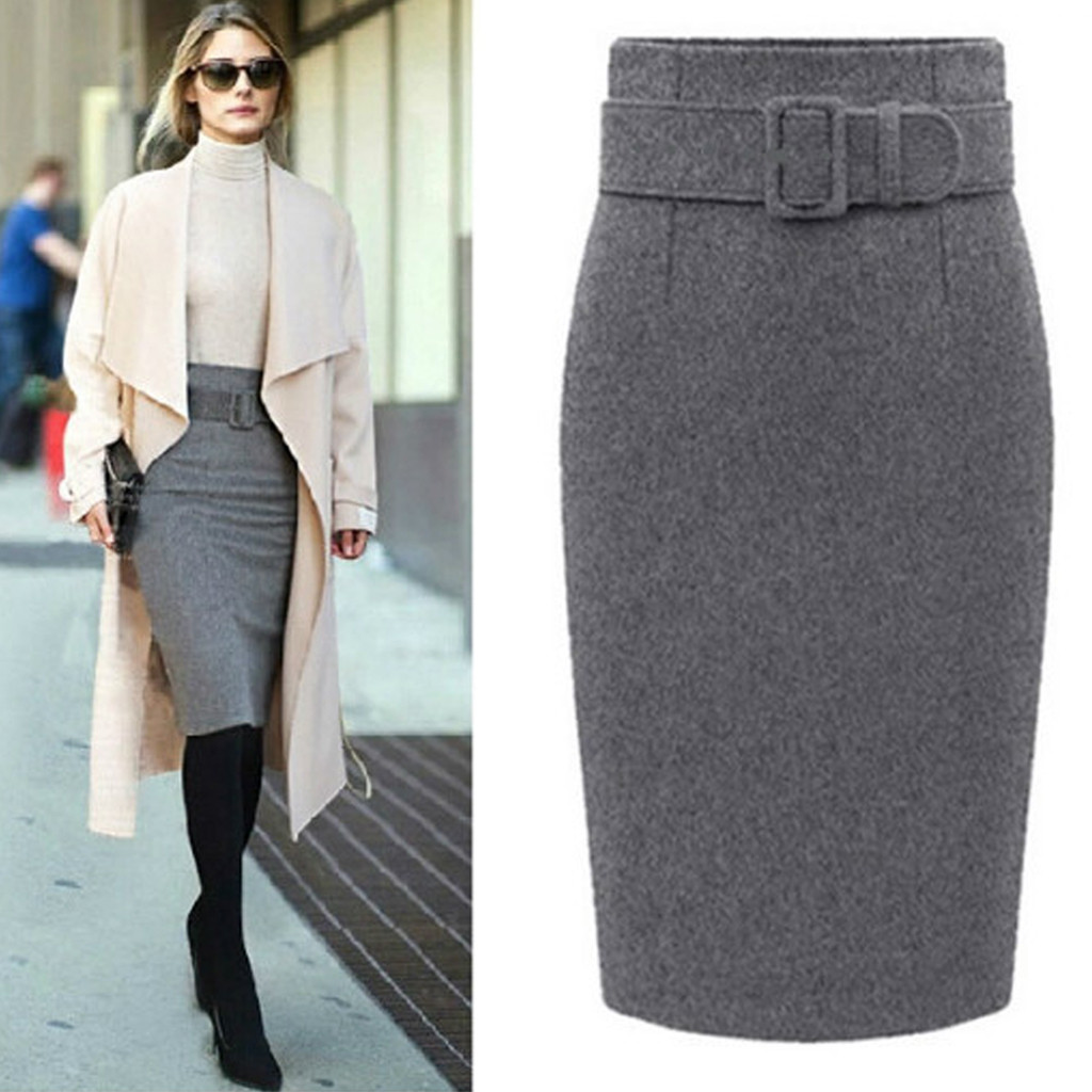 Women Winter Wool Pencil Skirt Cotton Plus Waist High Waist Zipper Casual Party Knee-length Pashmina Skirt Cashmere Skirt #38