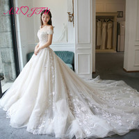 AXJFU Luxury princess white lace boat neck flower wedding dress party vintage ball gown beading crystal bride wedding dress