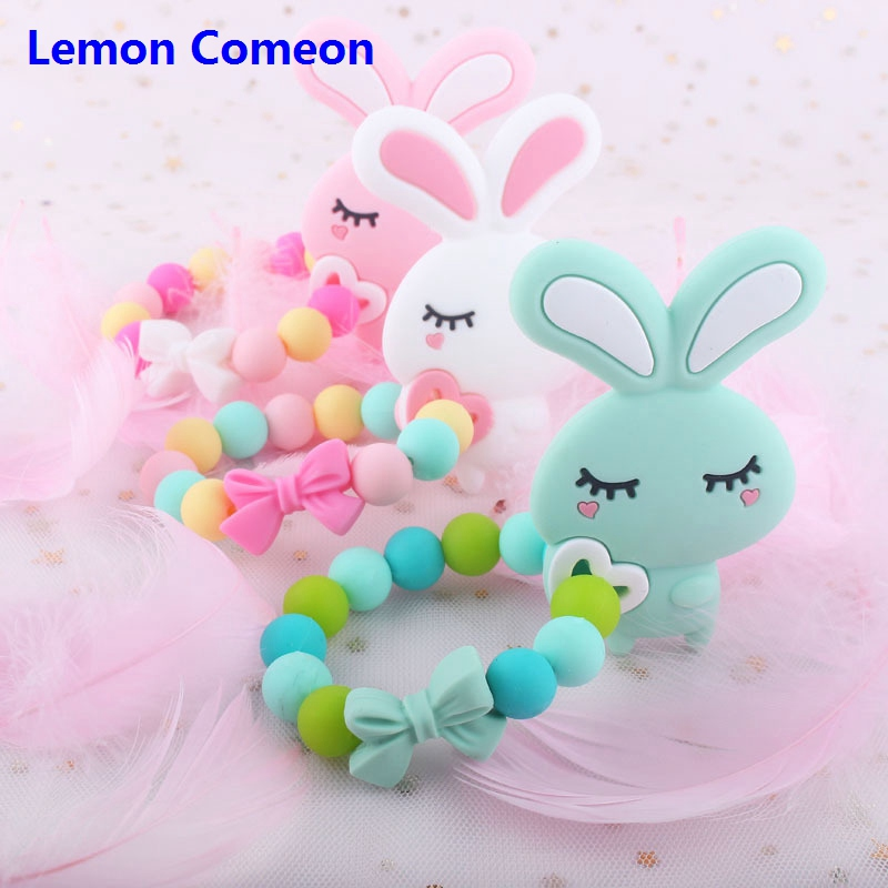 Silicone Baby Teether Bracelet Rabbit Food Grade Silicone Beads Teething Toy Beads DIY Chew Bracelet Toddler Rodent Teether 1PC