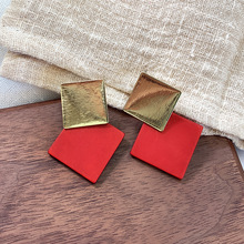 Statement Red Square Drop Earrings For Women 2019 New Double Layers Fashion Jewelry
