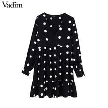 Vadim kobiety słodkie polka dot mini sukienka z dekoltem w kształcie litery V z długim rękawem prosto kobiet w stylu preppy śliczne stylowe sukienki vestidos QC766