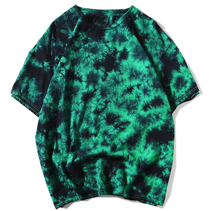 Tie Dye t shirt Unisex Hip Hop T-shirt 2020 Summer Mens Round Neck loose Tshirts футболка 100%cotton Womens Oversize Tees Tops(China)