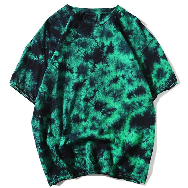 Tie Dye t shirt Unisex Hip Hop T-shirt 2020 Summer Mens Round Neck loose Tshirts футболка 100%cotton Womens Oversize Tees Tops(China)