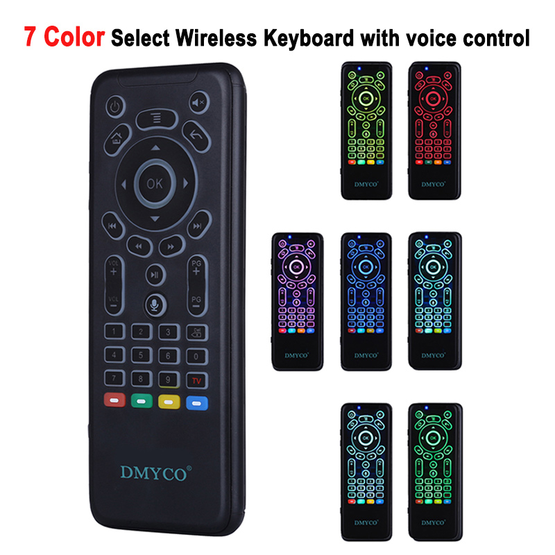 DMYCO Smart Voice Remote Control 2.4G USB 7 Backlight Wireless Mouse Microphone IR Learning For PC HTPC Smart TV Android TV Box