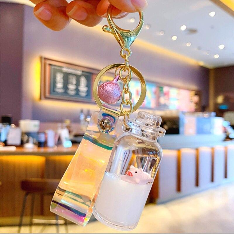 New 1Pcs Acrylic Animal Floating Bottle Keychain Simulation Milk Quicksand Liquid Bottle Keyring Key Jewelry Accessories Gift