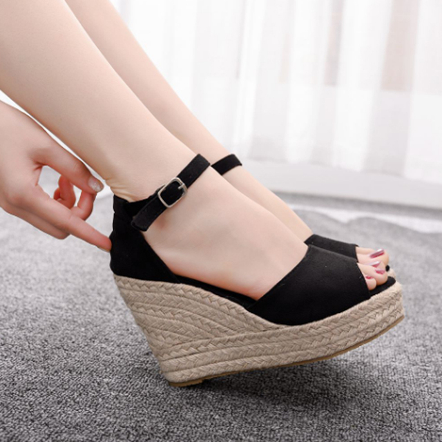 Women's hot style wedge sandals comfortable fish mouth sandals hemp rope high heel fish mouth sandals high heels for women 10cm 2