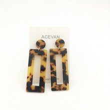 acrylic earring Bohemian earrings acetate tortoise shell rectangle geometric Jewelry