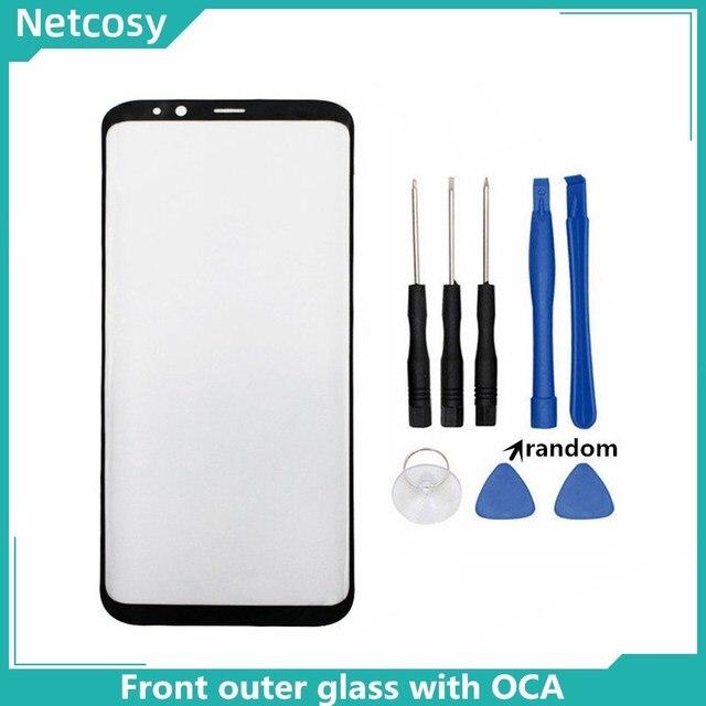 S8 S8 artı S9 not 8 not 9 10 ön dış cam lens kapağı ile OCA tutkal Samsung Galaxy S10 S10 artı LCD cam araçları