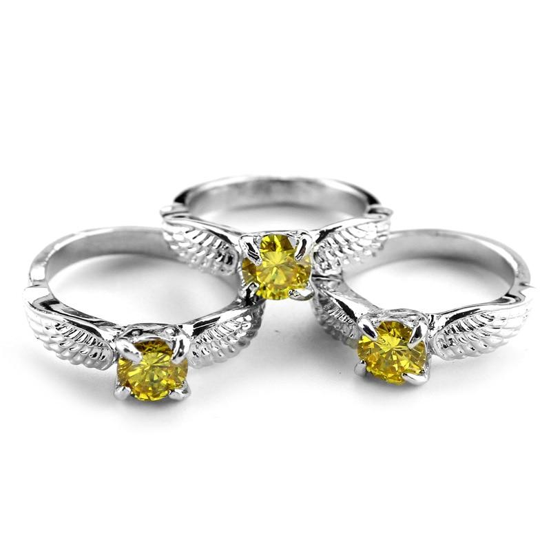 ZXMJ затравленные Золотой снитч, кольцо Квиддич Металл Серебристый potters Свадебные Ангел кольца крылья с оранжевым кристаллом, ювелирные изделия в качестве подарка|Кольца для помолвки| | АлиЭкспресс