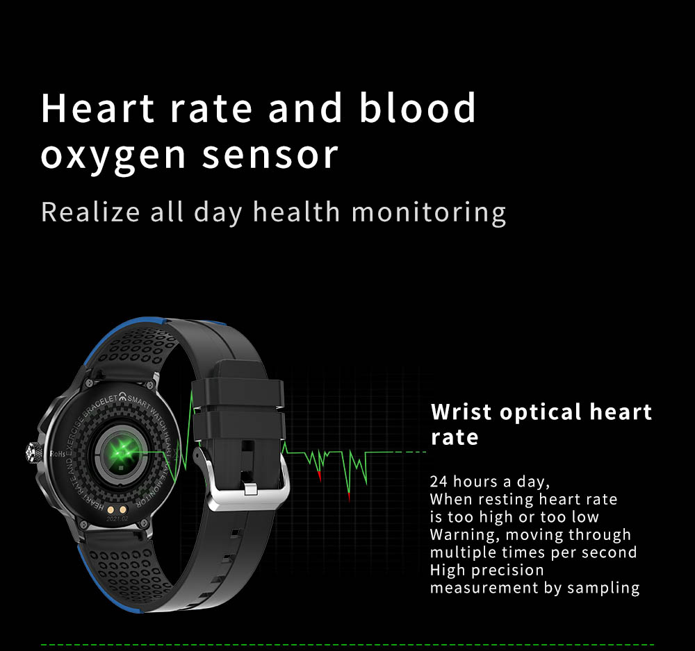 H8d386352d4eb4d089b99732e1634bda70 Smart Watch Men Women IP68 Waterproof Bluetooth 5.0 24 Exercise Modes Smartwatch E1-5 Heart Rate Monitoring for Android Iosr A