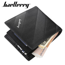 Baellerry luxury Black Men Wallets Leather Bifold Minimalist Passport Holder Small Men's Wallet Designer Money Purse(China)
