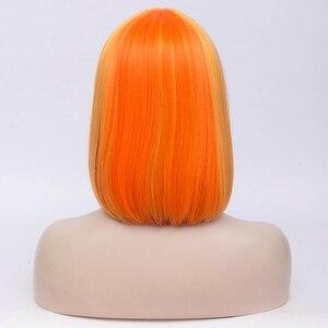 Image 2 - Msiwigs 2 トーンボボコスプレかつら女性ピンクブルーミックスストレートかつら前髪と人工毛のかつら