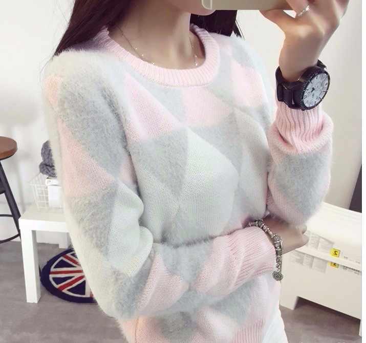 2019 נשי סוודרי חורף סוודר אופנה נשים אביב סתיו בסוודרים ארוך שרוול משובץ מזדמן גבירותיי סוודרים