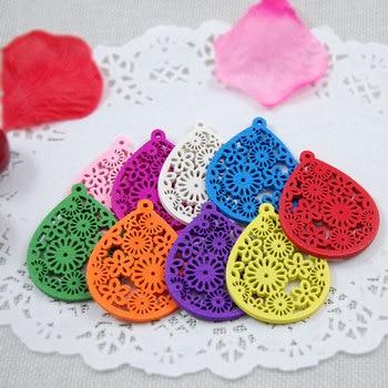 20 Uds hecho a mano grabado Ornamental gota de agua de madera de Color suelta perlas cuentas DIY accesorios de joyería, pendientes