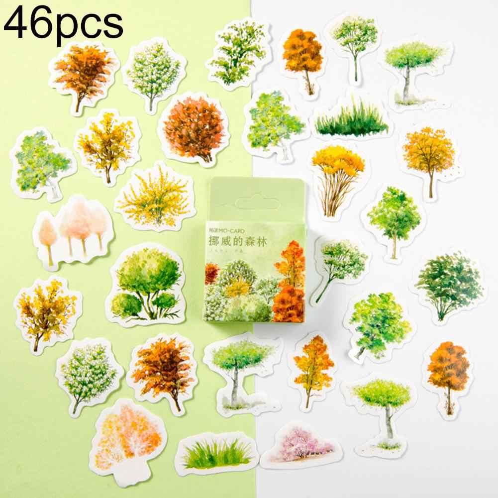 46 adet ağacı çiçek dekoratif çıkartmalar DIY Scrapbooking Sticker mühür çıkartması doğal bitkiler tasarım kendinden yapışkan çıkartmalar
