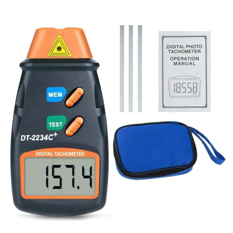DT2234C Digital LCD Laser Rev Counter RPM Testing Meter Non-contact Tachometer Counter For Motor Wheel Rotation Speed Testing