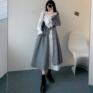 Japan Style Dress Spring Autumn New Korean Fashion Temperament Hipster Loose Hot Sale Contrast Splicing Oversize Ruffle V-neck