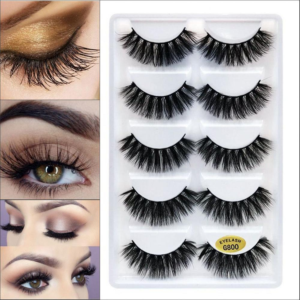 Eyelashes 5 Pairs Naturally Extended Fashion Handmade Real Mink 3D False Eyelashes Thick Long Eyelashes