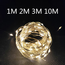 1m 2m 3m 10m Copper Wire Battery Box Garland LED Wedding Decoration for Home Decoration Fairy for Party Decoration String Light cheap CHASANWAN Solid Color Wedding Engagement Christening Baptism St Patrick s Day Grand Event Birthday Party House Moving
