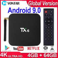 Boîte de télévision Android 9.0 boîte de télévision intelligente TX6 boîte de télévision Android 4 go de RAM 64 go Allwinner H6 Quad Core USD3.0 2.4G/5Ghz WiFi 4K TVBOX Tanix TX6