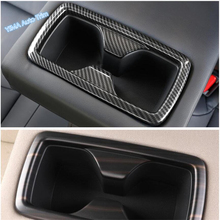 Lapetus Auto Styling Rear Seat Water Cup Holder Panel Cover Kit Trim Fit For TOYOTA RAV4 RAV 4 2019 2020 ABS Carbon Fiber Style dwcx abs carbon fiber style front seat heating switch button cover trim frame panel car styling fit for toyota rav4 2019 2020