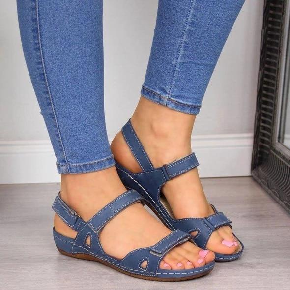 Women Flat Soft Sandals Comfort Open Toe Summer Orthopedic Sandals Casual Buckle Stitching Beach Shoes Sandals Ladies Footwear