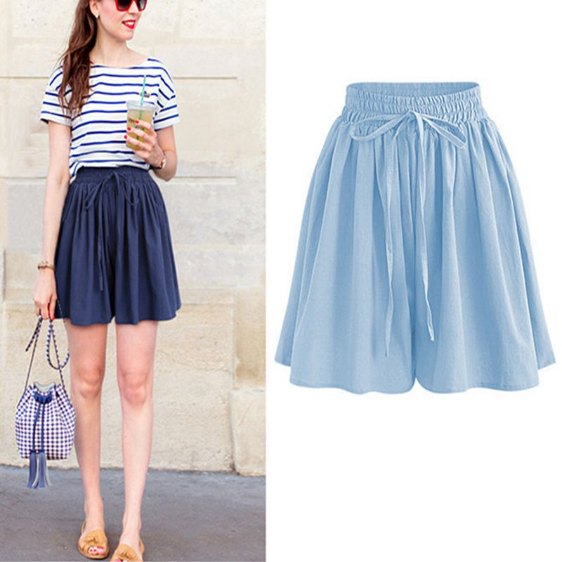 Summer Large Size Wide Leg Shorts 3XL4XL5XL 6XL 7XL Hips 152CM Women Fashion Chiffon Elastic Waist Loose Casual Wide Leg Shorts