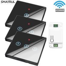 SMATRUL Smart Home Wireless Touch Switch Light elettrico 433Mhz telecomando schermo in vetro pannello a parete pulsante ricevitore lampada a Led