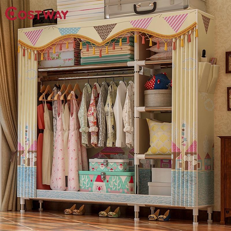 COSTWAY Cloth Wardrobe For clothes Fabric Folding Portable Closet Storage Cabinet Bedroom Home Furniture armario ropero mueblesWardrobes   - AliExpress
