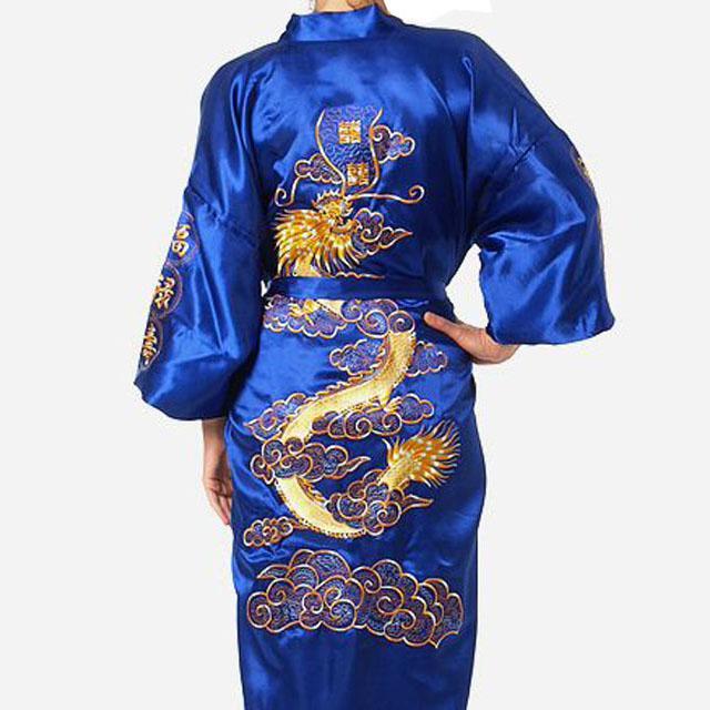 Большой размер 3XL халат для мужчин вышивка платье с драконами ночное белье мягкое атласное Lounge Ночная рубашка пижамы сексуальное свободное повседневное кимоно платье - Цвет: Royal Blue Robe