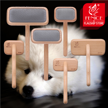 Fenice Pet Grooming Comb Wooden Handle Needle Comb For Hair Pet Brush Beauty Brush Dog Accessories pet grooming pet beauty grooming tool comb brush dog hair promote blood circulation pet grooming dog hair brush dog comb