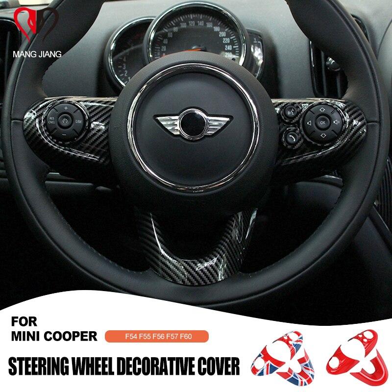 3PCS For MINI COOPER F54 F55 F56 F60 Countryman Clubman Steering Wheel Panel Multimedia button Sticker Decal Cover Sticker Case
