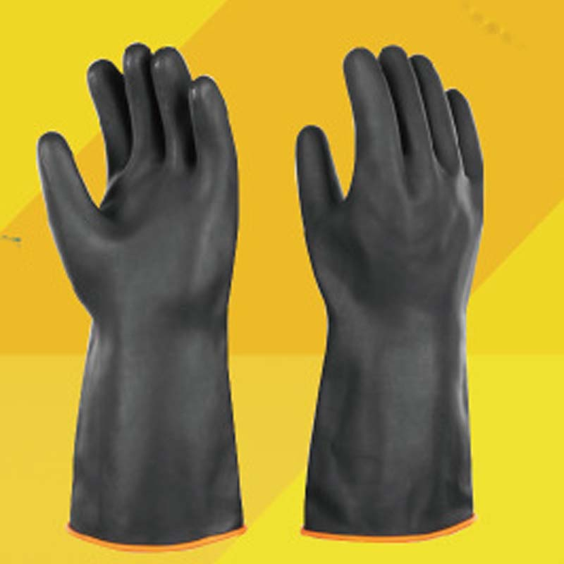 Protective Gloves Glossy Thick Rubber Gloves Protective Industrial Acid And Alkali Resistant Latex Gloves