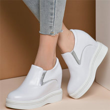 Fashion Sneakers Women Genuine Leather Wedges High Heel Round Toe Pumps Shoes Female Platform Oxfords Shoes  Casual Shoes US 3-9 summer pumps women genuine leather sports gladiator sandals ladies platform wedges high heel mary jane shoes female casual shoes