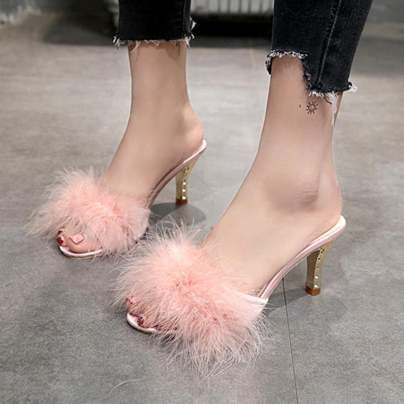 COVOYYAR 2019 Summer Shoes Woman Feather Thin High Heels Fur Slippers Peep Toe Mules Lady Pumps Slides Shoes Big Size WHH667