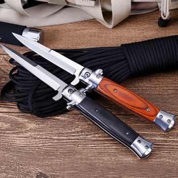 Mengoing Outdoor Survival AKC Multi-function Stiletto Folding Blade Knife with Flip Utility Fishing, Hiking, Diving Knives 4