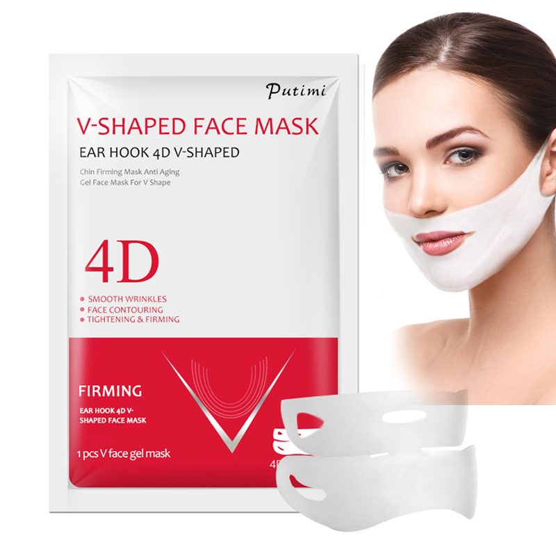 PUTIMI 4D Double V Shaped Face Mask Lifting Ear Hook Hydrogel V Line Face Sheet Mask Slimming Chin Check Neck Lift Anti Wrinkle