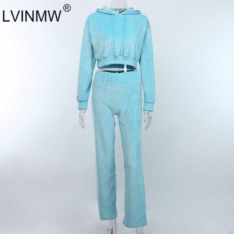Lvinmw Biru Beludru Pakaian Latihan Yg Hangat Dua Sepotong Set Lengan Panjang Hoodie Crop Top Lebar Pinggang Tinggi Kaki Celana Wanita Streetwear Pakaian