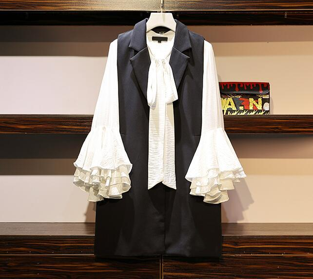 Grande taille 5XL à lacets Bowknot Flare manches chemises + boutons sans manches costume veste débardeur hauts robe femmes bureau travail automne ensembles